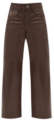 Brunello Cucinelli Wide-leg Leather Trousers - Dark Brown