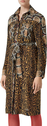 Burberry Costanza Leopard & Python Print Shirtdress