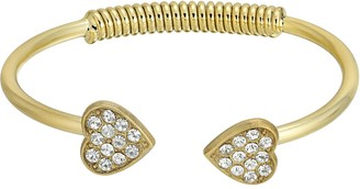 1928 14k Gold-Dipped Pave Crystal Heart Coil Spring Cuff Bracelet