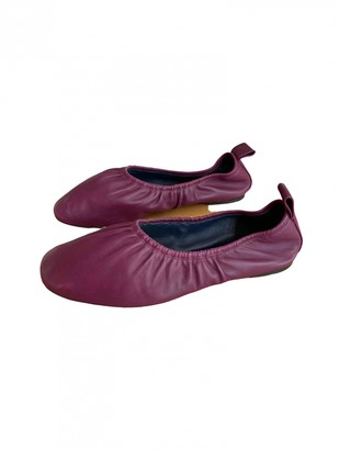 Celine Soft Ballerina Burgundy Leather Ballet flats