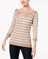 Karen Scott Petite Appliqued Striped Sweater, Created for Macy's