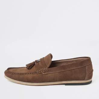 River Island Mens Brown textured suede tassel loafers
