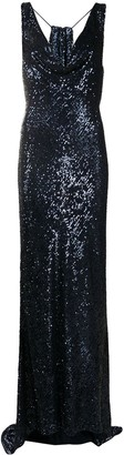 NERVI Sequinned Draped Panel Gown