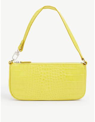 BY FAR Rachel crocodile-embossed deadstock-leather shoulder bag