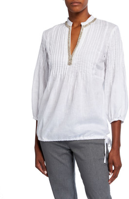 120% Lino Embellished Mandarin-Collar Pintucked Drawstring Bottom Poet Shirt