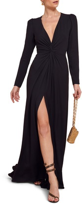 Reformation Gatsby Front Slit Long Sleeve Maxi Dress