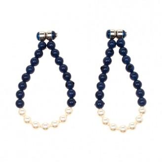 Chanel Navy Pearls Earrings