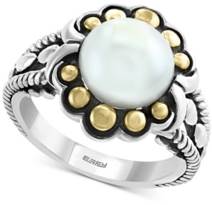 Effy Cultured Freshwater Pearl (9mm) Flower Ring in Sterling Silver & 18k Gold Over Silver