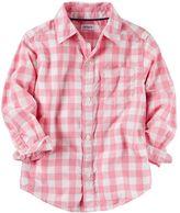 Carter's Boys 4-8 Checkered Plaid Woven Button-Down Shirt