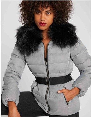 Morgan Padded Jacket with Faux Fur Hood and Belt