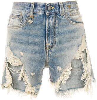 R 13 distressed denim shorts