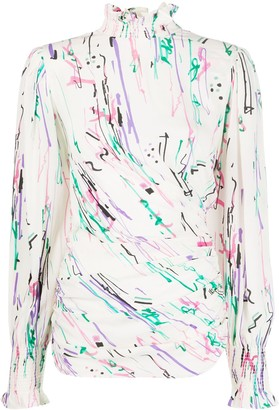 Isabel Marant Abstract-Print High-Neck Blouse