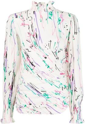 Isabel Marant Abstract-Print Smock-Neck Blouse