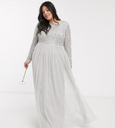 Maya Plus Bridesmaid long sleeve v back maxi tulle dress with tonal delicate sequin overlay in silver