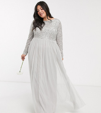 Maya Bridesmaid long sleeve v back maxi tulle dress with tonal delicate sequin overlay in silver