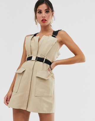 Asos Design DESIGN mini trench dress with contrast buckle and strap detail-Beige