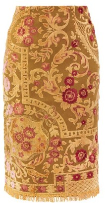Marine Serre Upcycled Floral-embroidered Panelled Cotton Skirt - Yellow