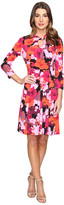 London Times Fleur Blur Twist Neck Fit & Flare Dress