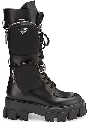 Prada Lug-Sole Tall Leather Combat Boots