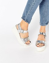 Aldo Metallic Flatform Sandals