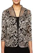 Alex Evenings Plus Two-Piece Floral Mesh Tunic Jacket and Tank Top