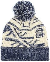 Topman Navy And Cream Patterned Bobble Beanie Hat