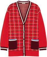 Miu Miu Checked Wool Cardigan - Red