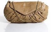 Lauren Merkin Brown Leather Stud Detail Shoulder Handbag Size Small