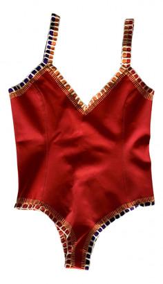 Kiini Red Polyester Swimwear