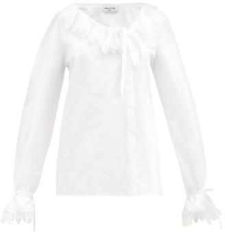 Francoise - Asymmetric Lace-trimmed Cotton-poplin Blouse - White