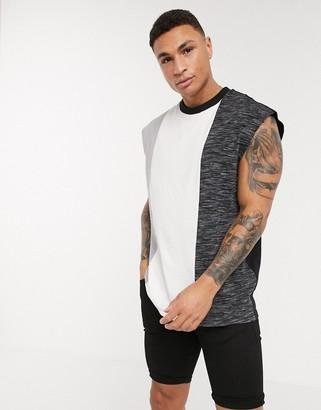 ASOS DESIGN organic oversized sleeveless t-shirt with interest fabric colour block