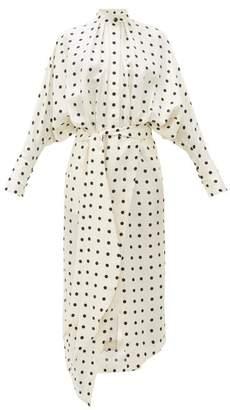 Petar Petrov Dublin Polka Dot Silk-satin Twill Dress - Womens - White Black
