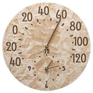 "Fossil Whitehall Products .375"" Aluminum Sumac Thermometer Clock - Weathered Limestone"