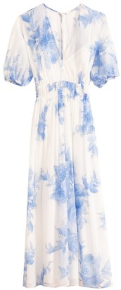 Lela Rose Blouson Dress in Cornflower Blue