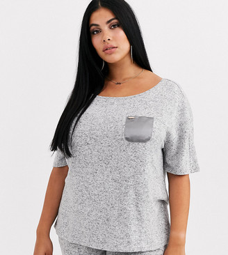Figleaves Curve off shoulder top in gray marl