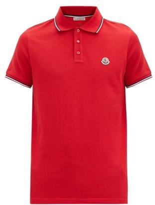 Moncler Logo-applique Cotton Polo Shirt - Red