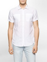 Calvin Klein Slim Fit Linen Blend Short Sleeve Shirt