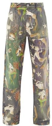 Loewe Paula's Ibiza - Mermaid-print Straight-leg Jeans - Mens - Multi