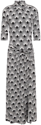 Paco Rabanne Twist-front Printed Stretch-jersey Turtleneck Midi Dress