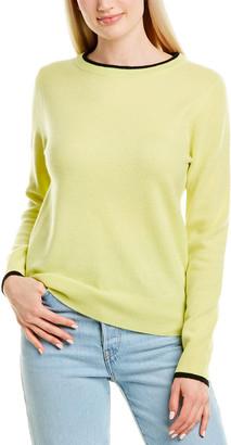 InCashmere Contrast-Trim Cashmere Sweater