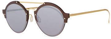 Illesteva Malpensa Mirrored Round Stainless Steel Sunglasses