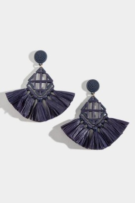 francesca's Lainey Woven Raffia Chandelier Earrings - Navy