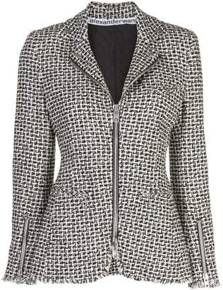 Alexander Wang tweed Moto zip jacket