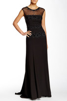 Sue Wong Embellished Lace Illusion Gown