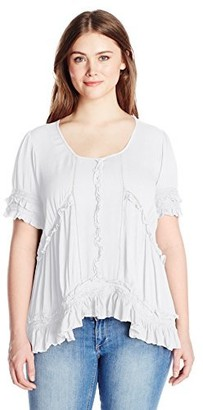 Angie Women's Plus Size High/Low Ruffle Top