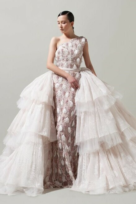 Thumbnail for your product : Saiid Kobeisy Fully Beaded One Shoulder Ball Gown with Overskirt