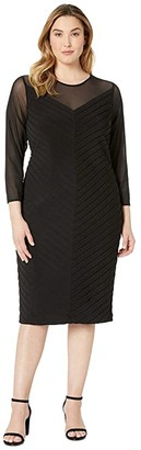 Adrianna Papell Plus Size Matte Jersey Sheath Dress with Illusion Mesh V-Neckline (Black) Women's Dress