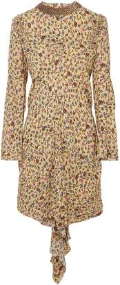 Chloé Embellished Draped Floral-print Georgette Mini Dress