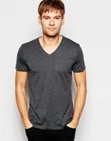 Esprit V-Neck T-Shirt in Gray Marl