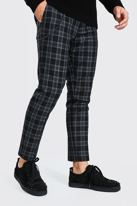 boohoo Mens Navy Skinny Check Cropped Smart Trouser With Chain, Navy
